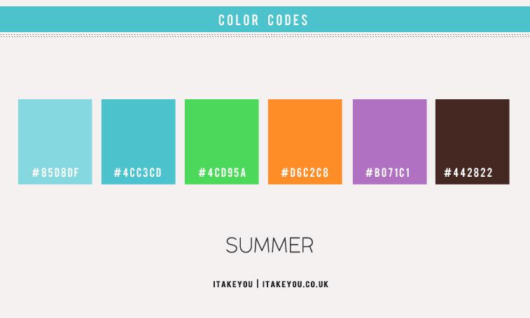 summer color ideas, bright blue orange purple color combo, bright blue color