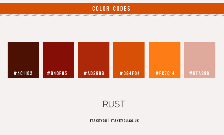 rust color scheme, autumn rust color combo, brown orange taupe color combination, brown burnt orange color combo, color combination with rust