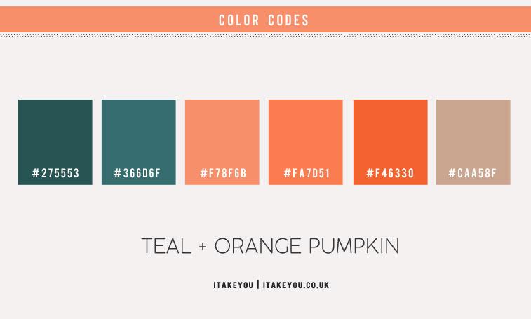 pumpkin color hex, pumpkin and teal color scheme, autumn color scheme, teal and orange color scheme, orange autumn color combo, pumpkin color
