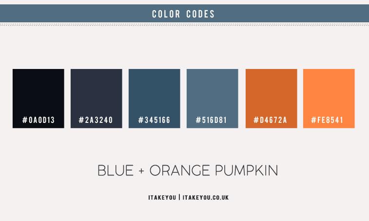 dark blue and orange color scheme, dark blue and rust, autumn color scheme, dark blue and rust color combo