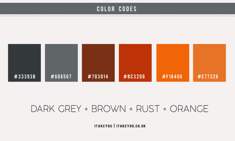 dark grey and orange color combo, dark grey and rust color combo, rust and dark grey color combinations