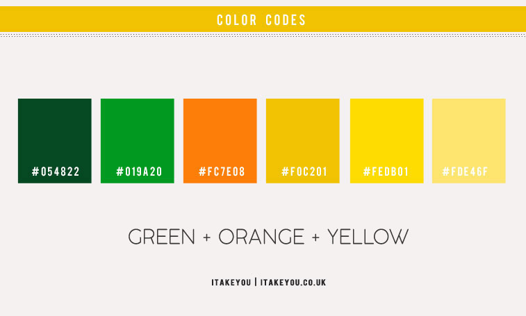 green orange and yellow color scheme, yellow and green color combo, green and yellow color combinations, summer color palette, summer color scheme, green orange and yellow color palette, orange and yellow color combo