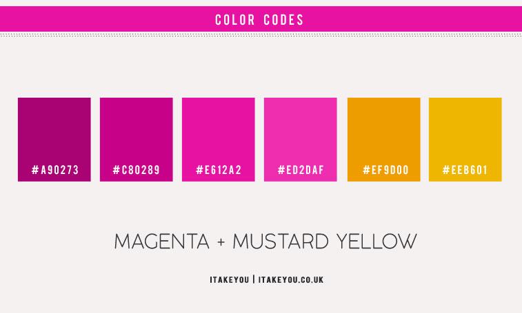 magenta, magenta color scheme, magenta color combination, magenta and mustard color combinations, magenta color, magenta and yellow mustard