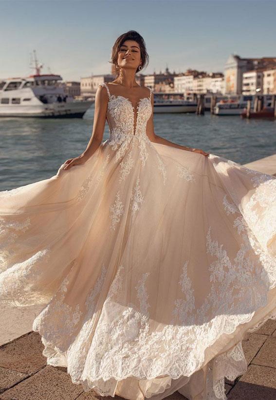 viero bridal, viero bridal wedding dress, viero bridal gabrielle dress vero wedding dress, wedding dresses, wedding dresses 2020, sleeveless sweetheart neckline a line wedding dress #weddingdress #weddingown #wedding