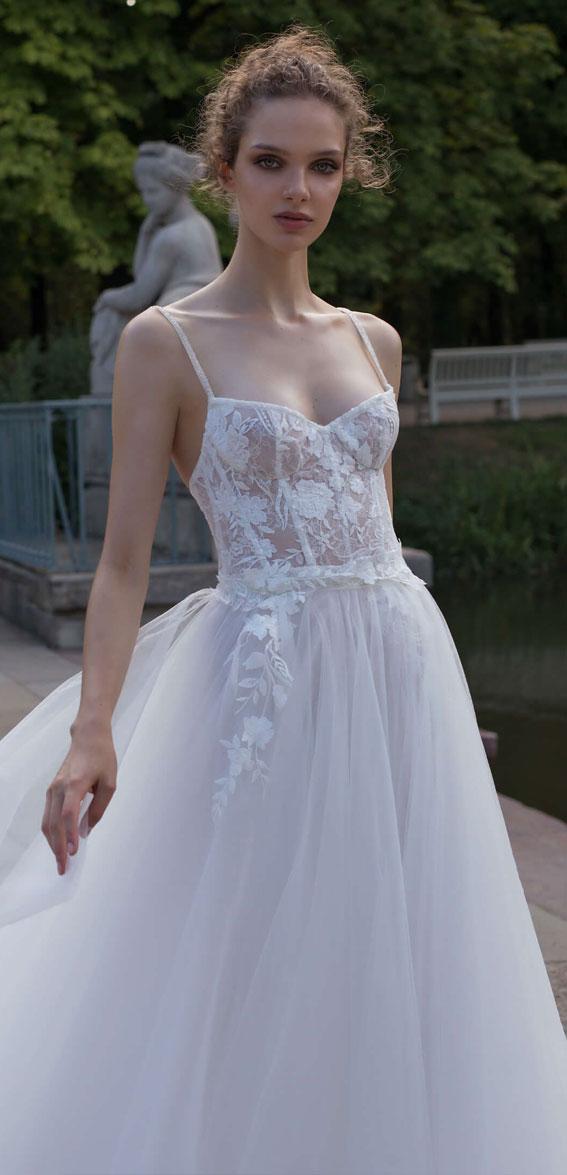 v neckline floral applique tulle wedding dress, wedding dress, wedding dresses, wedding #wedding wedding gown, bridal gown,  helena kolan wedding dress 2020, helena kolan wedding dresses, helena kolan wedding dress