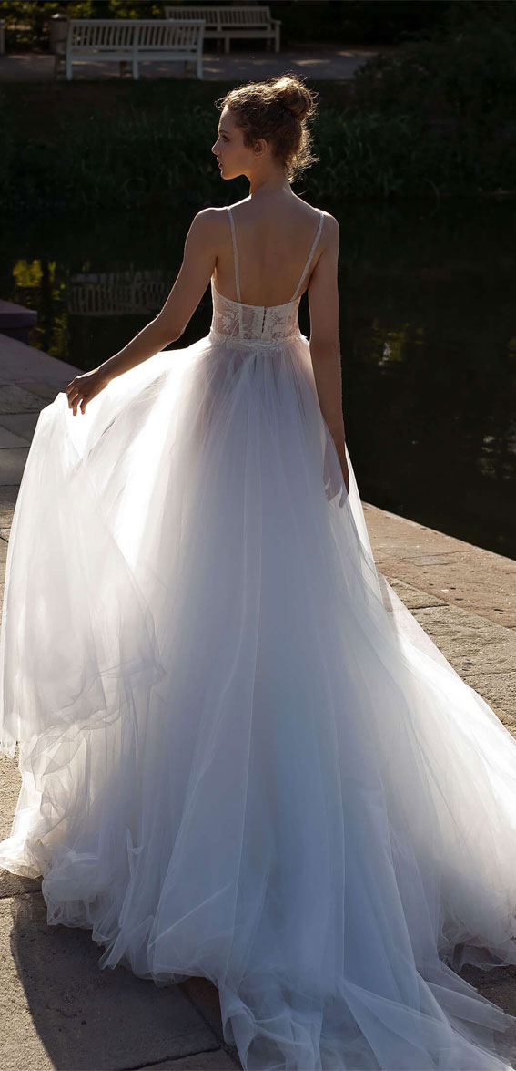 v neckline floral applique tulle wedding dress, wedding dress, wedding dresses, wedding #wedding wedding gown, bridal gown  helena kolan wedding dress 2020, helena kolan wedding dresses, helena kolan wedding dress
