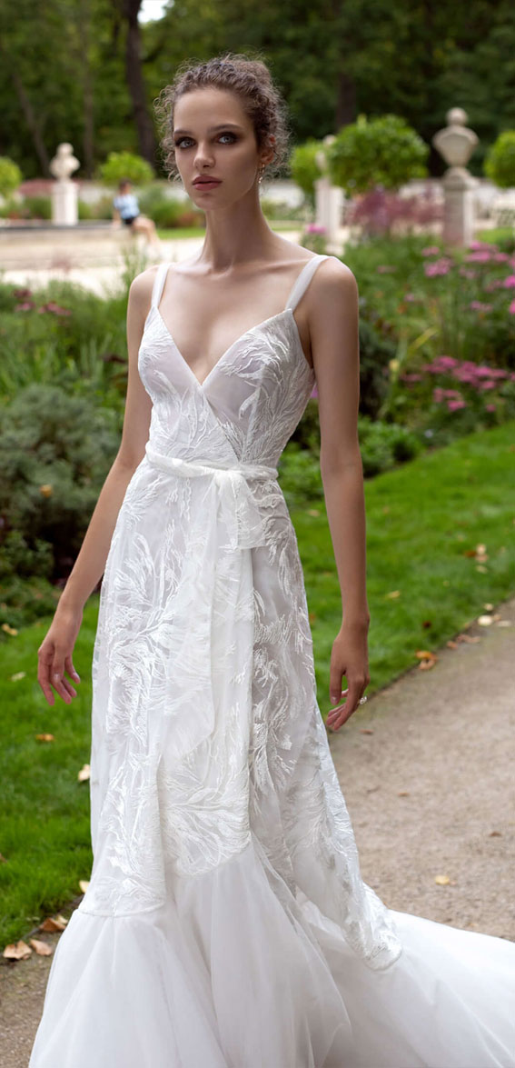 thin strap a line wrap wedding gown, v neckline a line wedding dress, wedding dresses, wedding gown #wedding #bridedress  helena kolan wedding dress 2020, helena kolan wedding dresses, helena kolan wedding dress