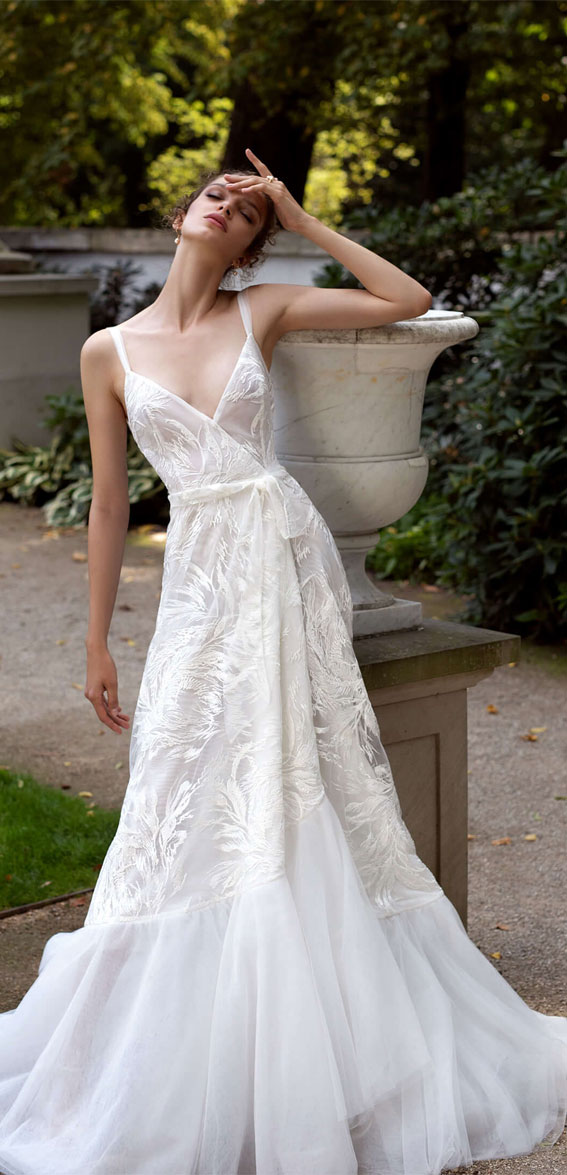 thin strap a line wrap wedding gown, v neckline a line wedding dress, wedding dresses, wedding gown #wedding #bridedress  helena kolan wedding dress 2020, helena kolan wedding dresses, helena kolan wedding dress