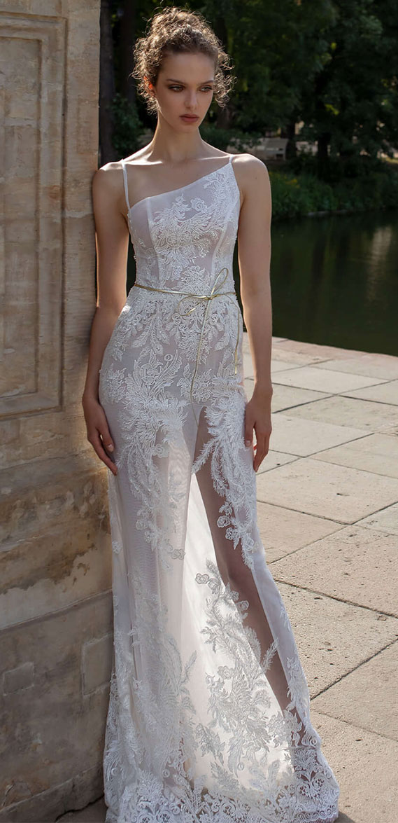 asymmetrical fitted gown with beaded lace thin straps , wedding dress, wedding gown, bride dress #wedding #weddingdresses  helena kolan wedding dress 2020, helena kolan wedding dresses, helena kolan wedding dress