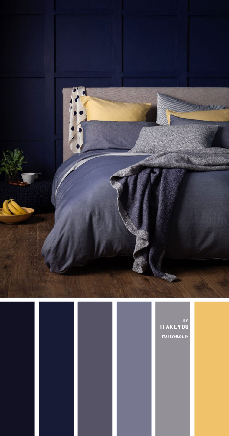 Dark blue, grey and yellow bedroom { Unexpected Bedroom Colours