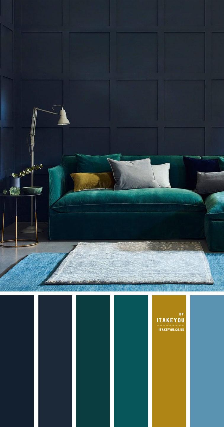Dark Blue and Emerald Living Room