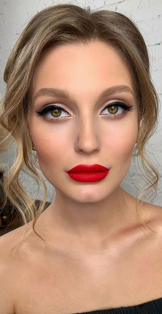 Hochzeit Make-up, Abschlussball Make-up Look, Abend Make-up Look, nackte Make-up rote Lippen, Hochzeit Make-up Look # Makeuplook # Bridalmakeup # Hochzeitsmakeupideas # Prommakeup