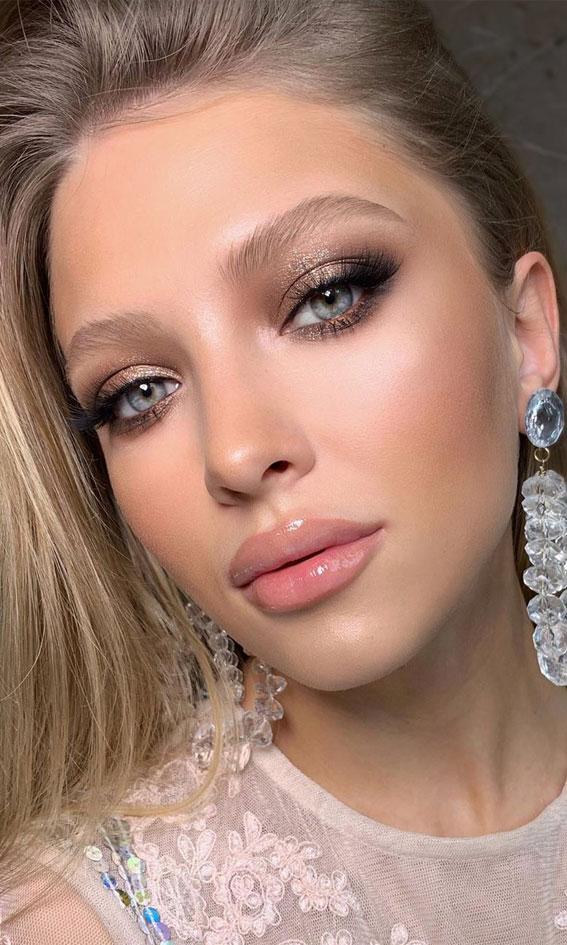 weicher Abschlussball-Make-up-Look, Abschlussball-Make-up-Look, Abend-Make-up-Look, nacktes Make-up, Hochzeits-Make-up-Look