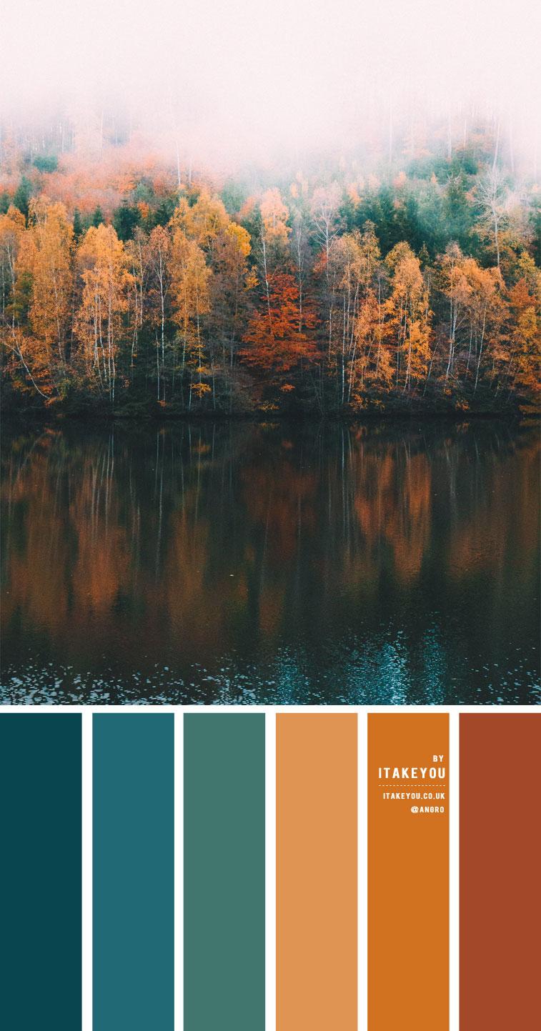 blaugrün und braun, blaugrün und Senf, Herbstfarbpalette, Herbstfarbideen, Herbstfarbschema #autumn #autumncolour #autumncolourcombo #colorcombo