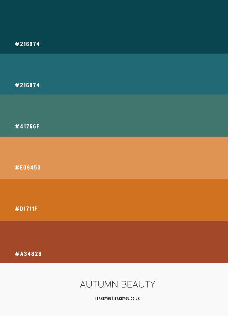 hex farbe, farbe hex, blaugrün und braun, blaugrün und senf, herbstfarbpalette, herbstfarbideen, herbstfarbschema #autumn #autumncolour #autumncolourcombo #colorcombo