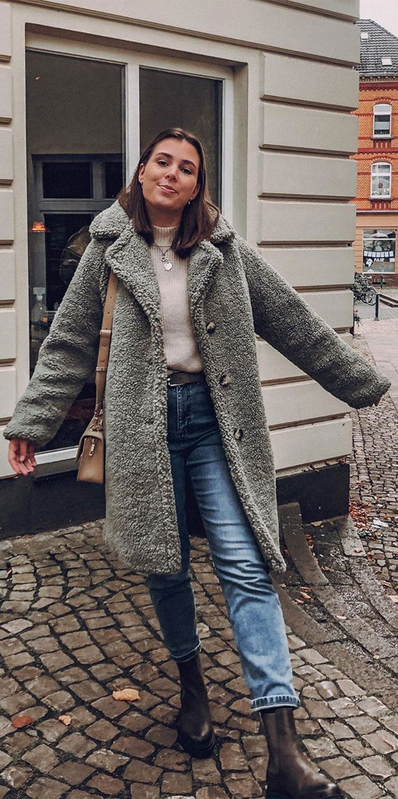 Salbeigrüne Teddybär-Mäntel, Teddybär-Mantel-Outfits, Teddy-Mantel-Outfit-Ideen #teddycoat #teddycoatoutfit Winter-Outfit-Ideen, Winter-Outfits