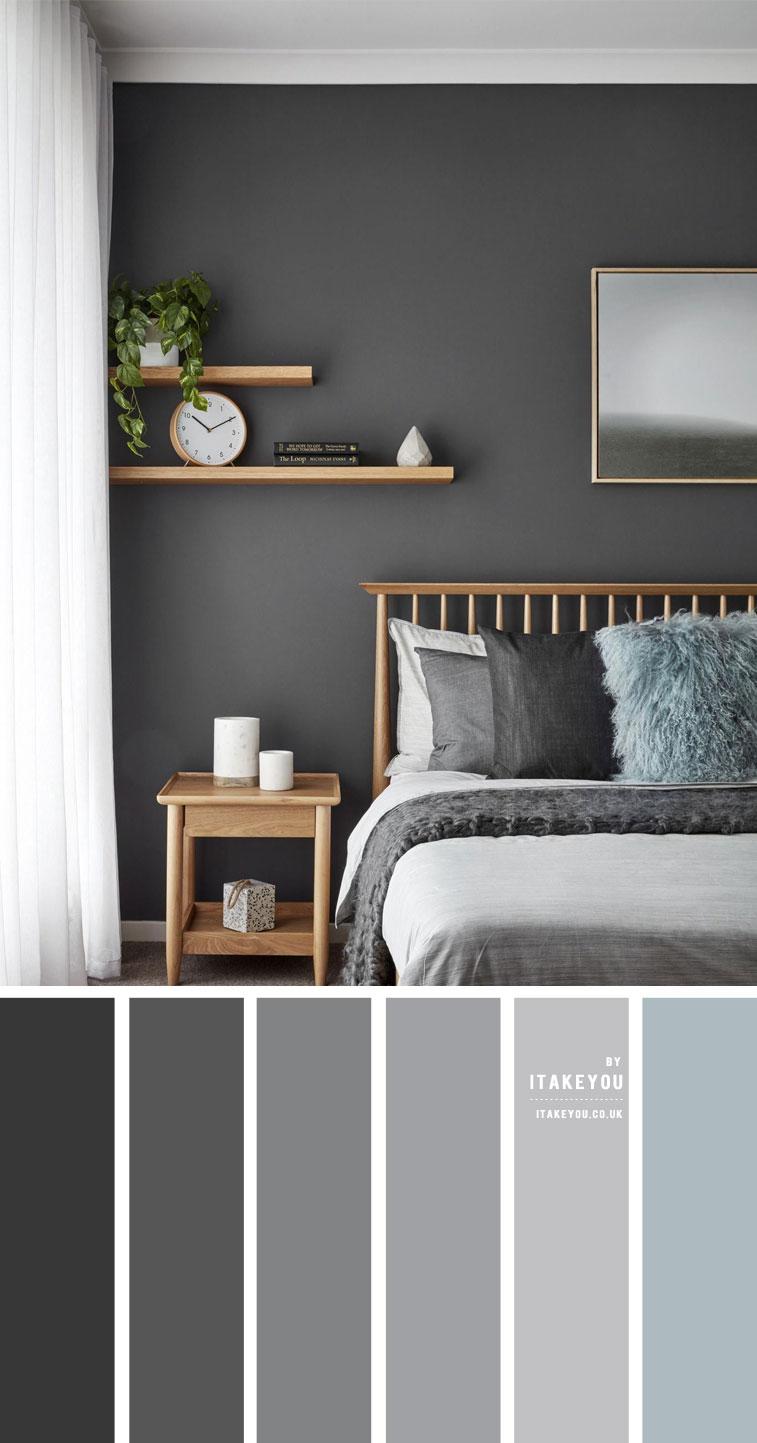 graue Schlafzimmerfarbe, dunkelgraue Schlafzimmerwände, graues Schlafzimmerdekor, graue Schlafzimmerideen, graues Farbschema für Schlafzimmer # Schlafzimmer