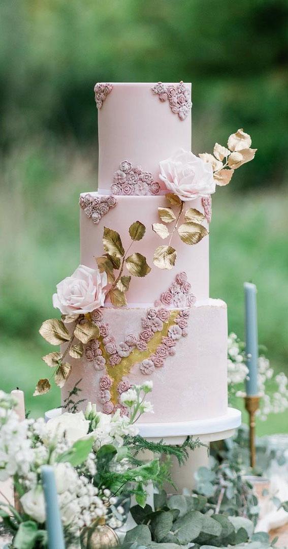 rosa und goldene Hochzeitstorte, rosa Hochzeitstorte, rosa Hochzeitsthema