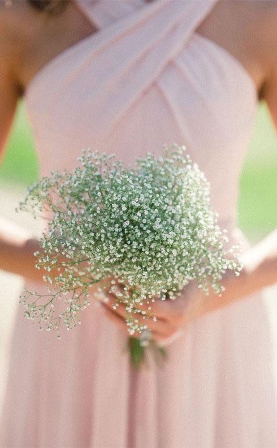 Baby Atemstrauß, erröten Brautjungfernkleid, zarte rosa Brautjungfer, rosa Brautjungfer, rosa Hochzeitsthema