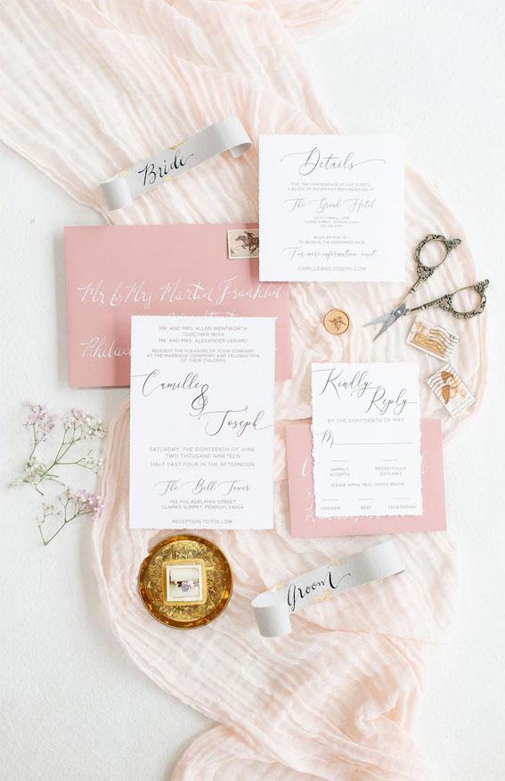rosa Hochzeitseinladungsanzug, rosa Hochzeitseinladungssatz, rosa Hochzeitseinladungen