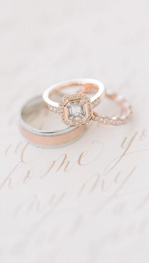Art-Deco-inspirierter Verlobungsring, Ehering, roségoldener Verlobungsring