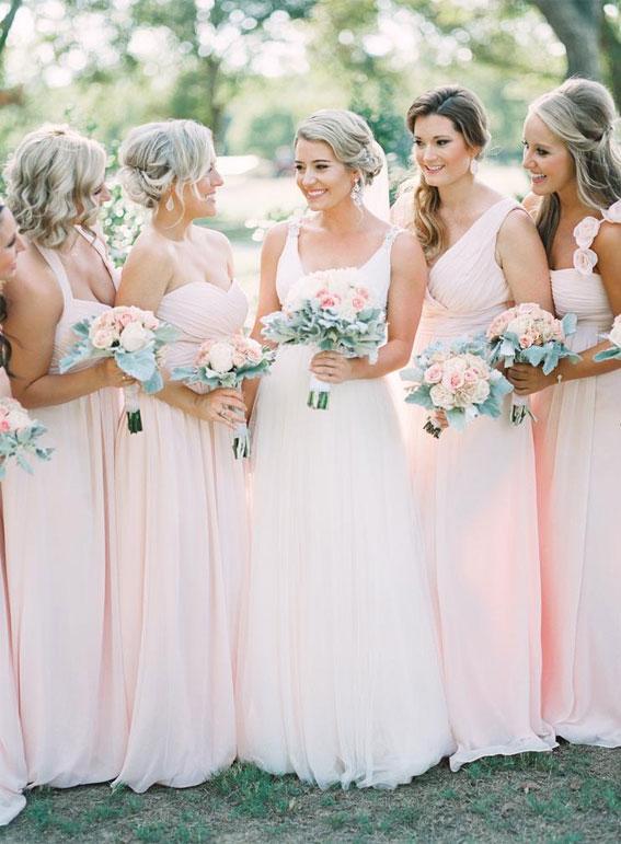 zart rosa Brautjungfernkleider, erröten Brautjungfernkleider